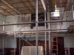 Sampford Peverall Methodist Church Scaffolding up for start of re-decoration